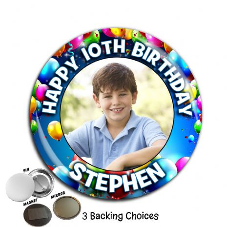Large 75mm Personalised Balloons Happy Birthday PHOTO Badge N9